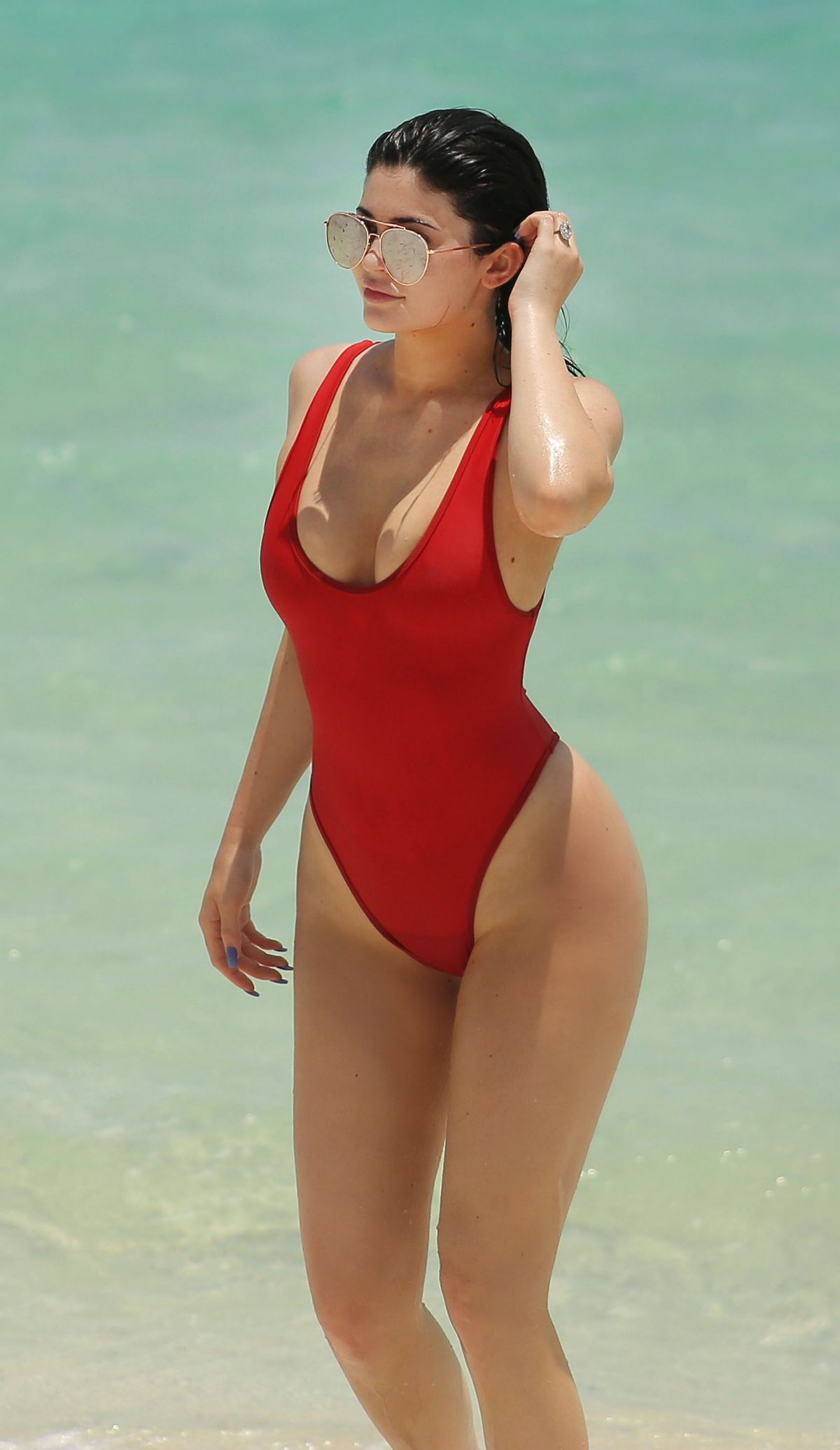 KYLIE JENNER in Swimsuit at a Beach in Turk and Caicos 08/12/2016