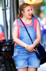 LENA DUNHAM on the Set of