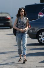 LILY COLLINS in Jeans Out in West Hollywood 08/24/2016