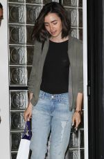 LILY COLLINS Leaves a Hair Salon in West Hollywood 08/19/2016