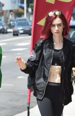 LILY COLLINS Out and About in West Hollywood 08/08/2016