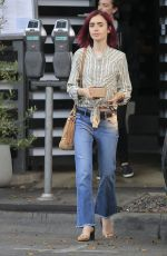 LILY COLLINS Out for Lunch in Los Angeles 08/09/2016
