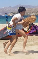 LINDSAY LOHAN and Egor Tarabasov Fighting at a Beach in Mykonos 08/05/2016