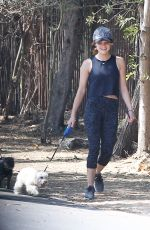 LUCY HALE in Tights Walks Her Dog Out in Los Angeles 08/20/2016