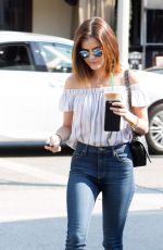 LUCY HALE Leaves Starbucks in Los Angeles 08/24/2016