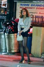 MAGGIE GYLLNHAAL on the Set of The Deuce in New York 08/04/2016