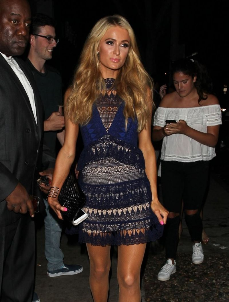 PARIS HILTON Night Out in West Hollywood 08/25/2016