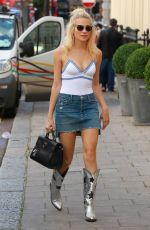 PIXIE LOTT in Denim Skirt Out in London 08/03/2016