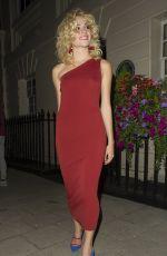 PIXIE LOTT in Red Dress Leaves Haymarket Theatre in London 08/05/2016
