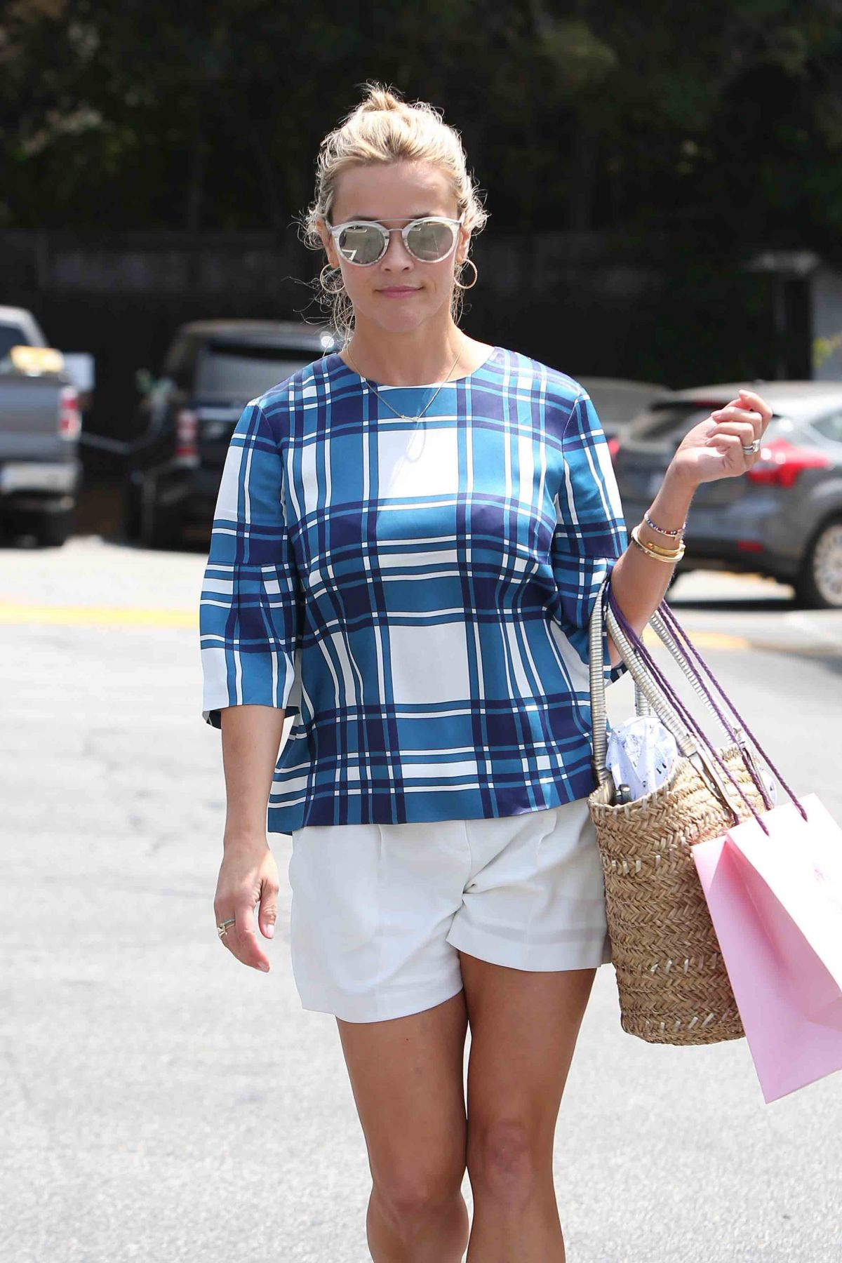 REESE WITHERSPOON in Shorts Out in Brentwood 08/05/2016