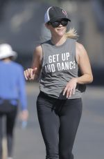 REESE WITHERSPOON Out Jogging in Brentwood 08/30/2016