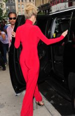 RITA ORA All in Red Leaves Her Apartment in NewYork 10/08/2016