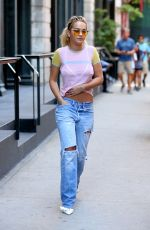 RITA ORA in Ripped Jeans Out in New York 08/03/2016