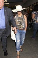 SALMA HAYEK at LAX Airport in Los Angeles 08/01/2016