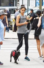 SHANINA SHAIK Walks Her Dog Out in new York 08/18/2016
