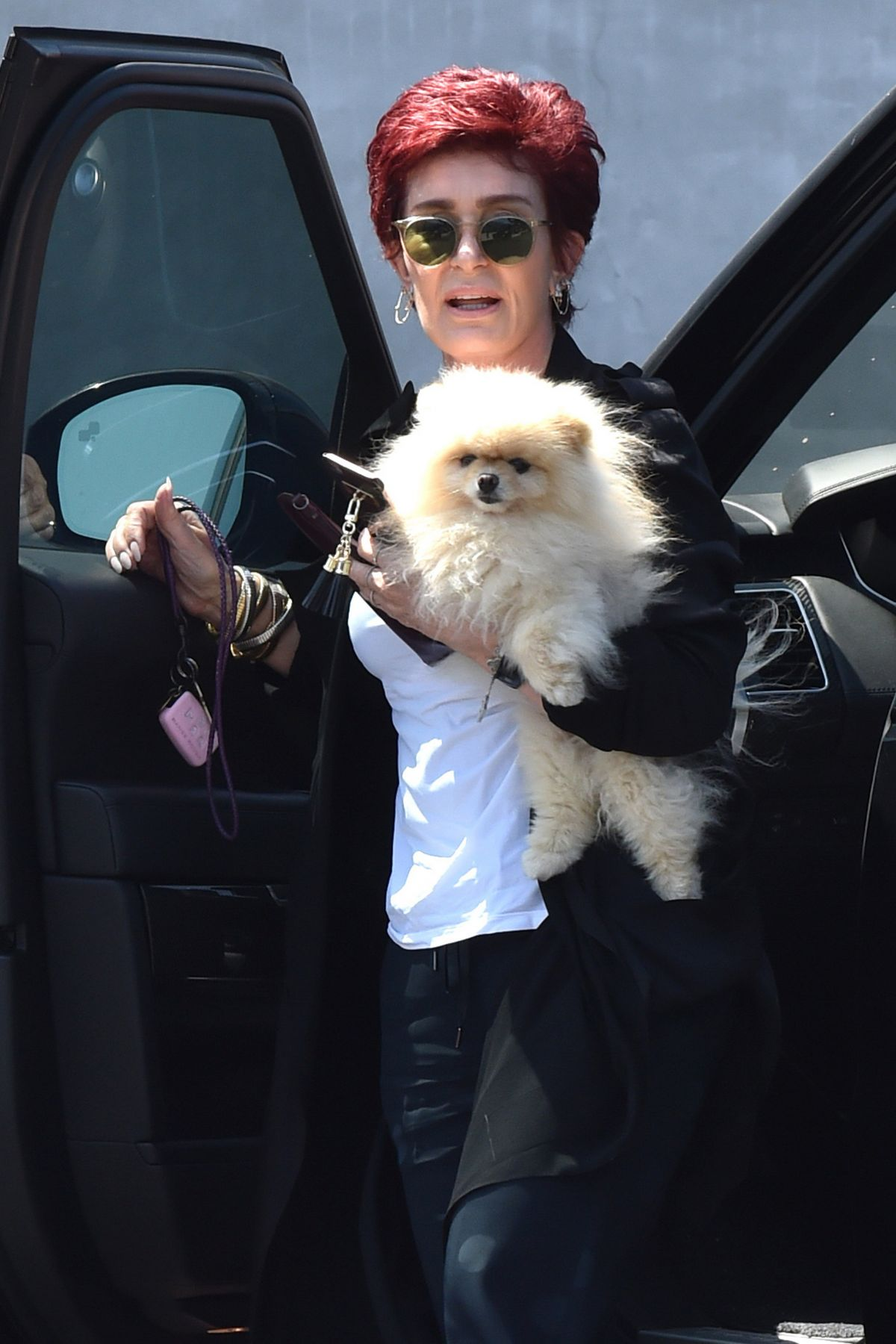 SHARON OSBOURNE Out with Her Dog in Beverly Hills 08/08/2016