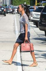 ZOE SALDANA Out and About in West Hollywood 08/09/2016