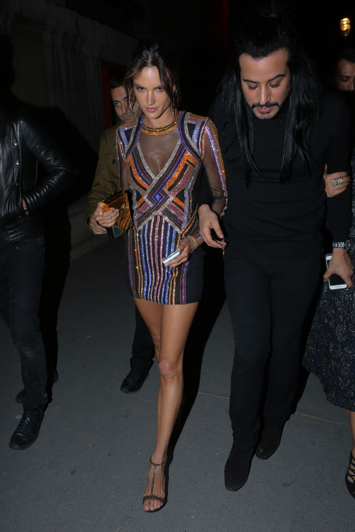 ALESSANDRA AMBROSIO at Balmain Aftershow Party in Paris 09/29/2016