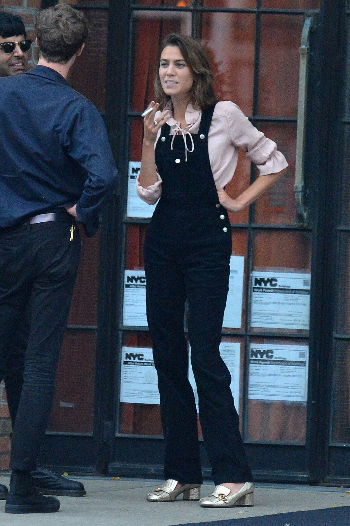 Alexa Chung Having A Smoke Break In New York 09 05 2016