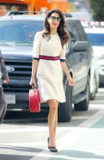 AMAL CLOONEY in a Gucci Dress Out in New York 09/20/2016