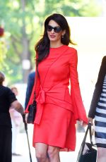 AMAL CLOONEY in a Red Dress Out in Manhattan 09/22/2016
