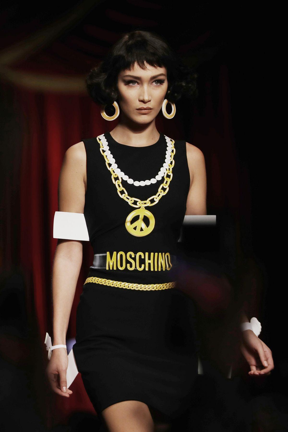 bella hadid at moschino fashion show at milan fashion week 09 22 2016 hawtcelebs. Black Bedroom Furniture Sets. Home Design Ideas