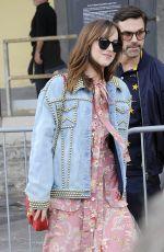 DAKOTA JOHNSON Leaves Gucci Fashion Show at Milan Fashion Week 09/21/2016