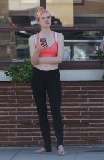 ELLE FANNING in a Sports Bra Out in Studio City 09/18/2016