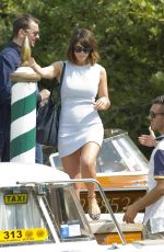 GEMMA ARTERTON Boarding at a Water Taxi in Venice 09/07/2016
