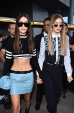 GIGI and BELLA HADID Leaves Versace Fashion Show at Milan Fashion Week 09/23/2016