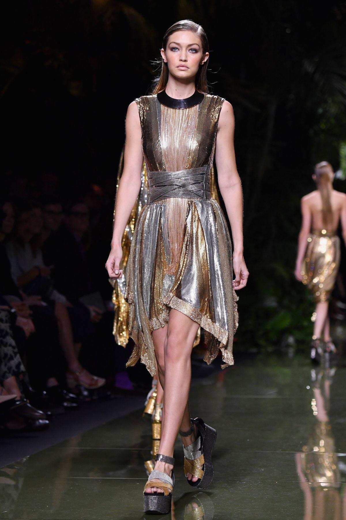 Fashion Week: GIGI HADID At Balmain Fashion Show At Paris Fashion Week