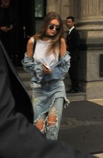 GIGI HADID in RIpped Jeans Out and About in Milan 09/21/2016