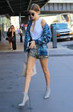 GIGI HADID in Shorts Out and About in New York 09/14/2016