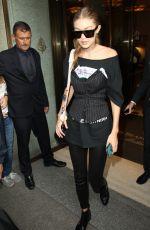 GIGI HADID Leaves Her Hotel in Milan 09/22/2016