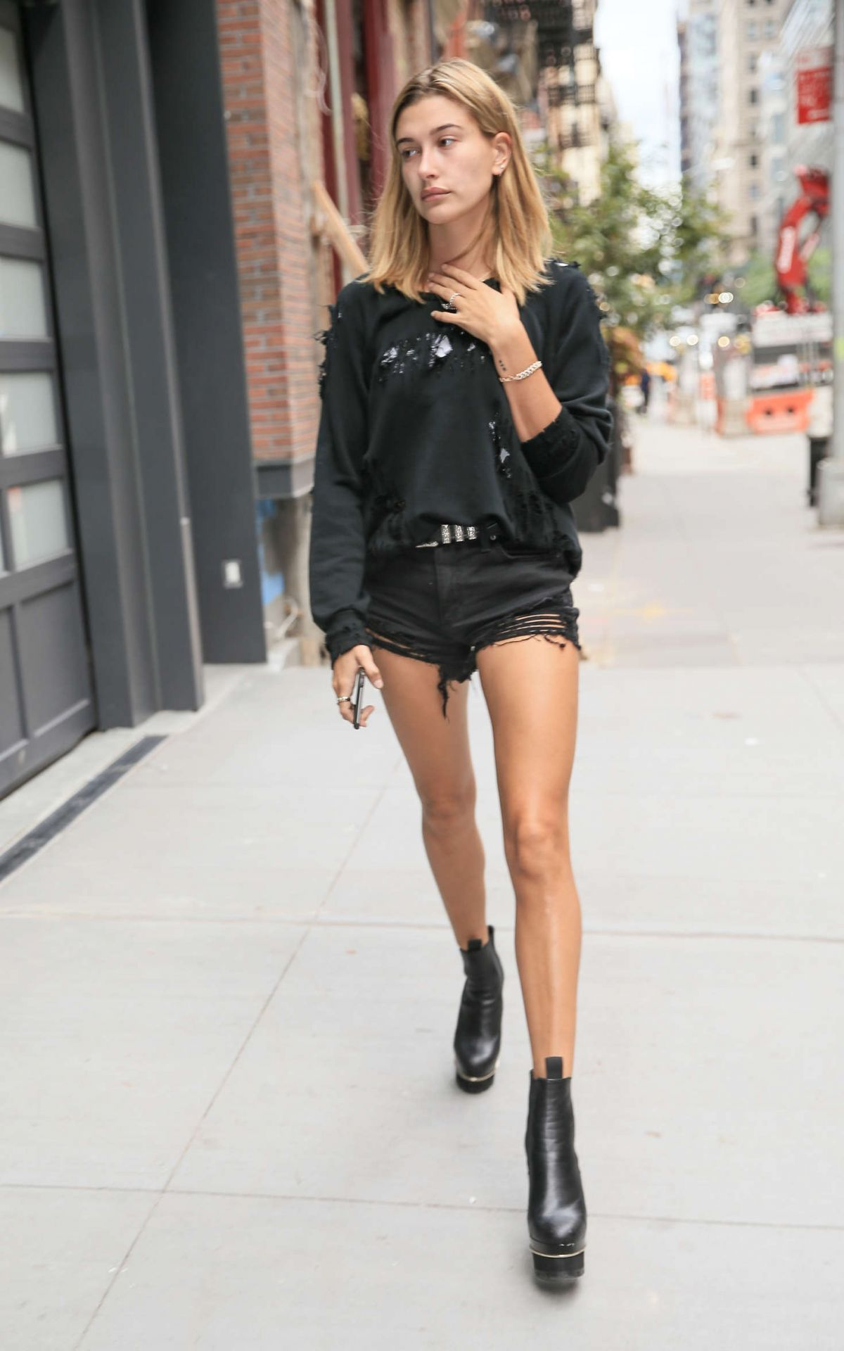 HAILEY BALDWIN in Shorts Out in New York 09/07/2016