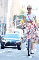 KARLIE KLOSS Riding a Bike Out in New York 09/09/2016