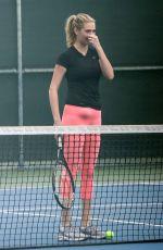 KATE UPTON Playing Tennis in Santa Monica 09/20/2016