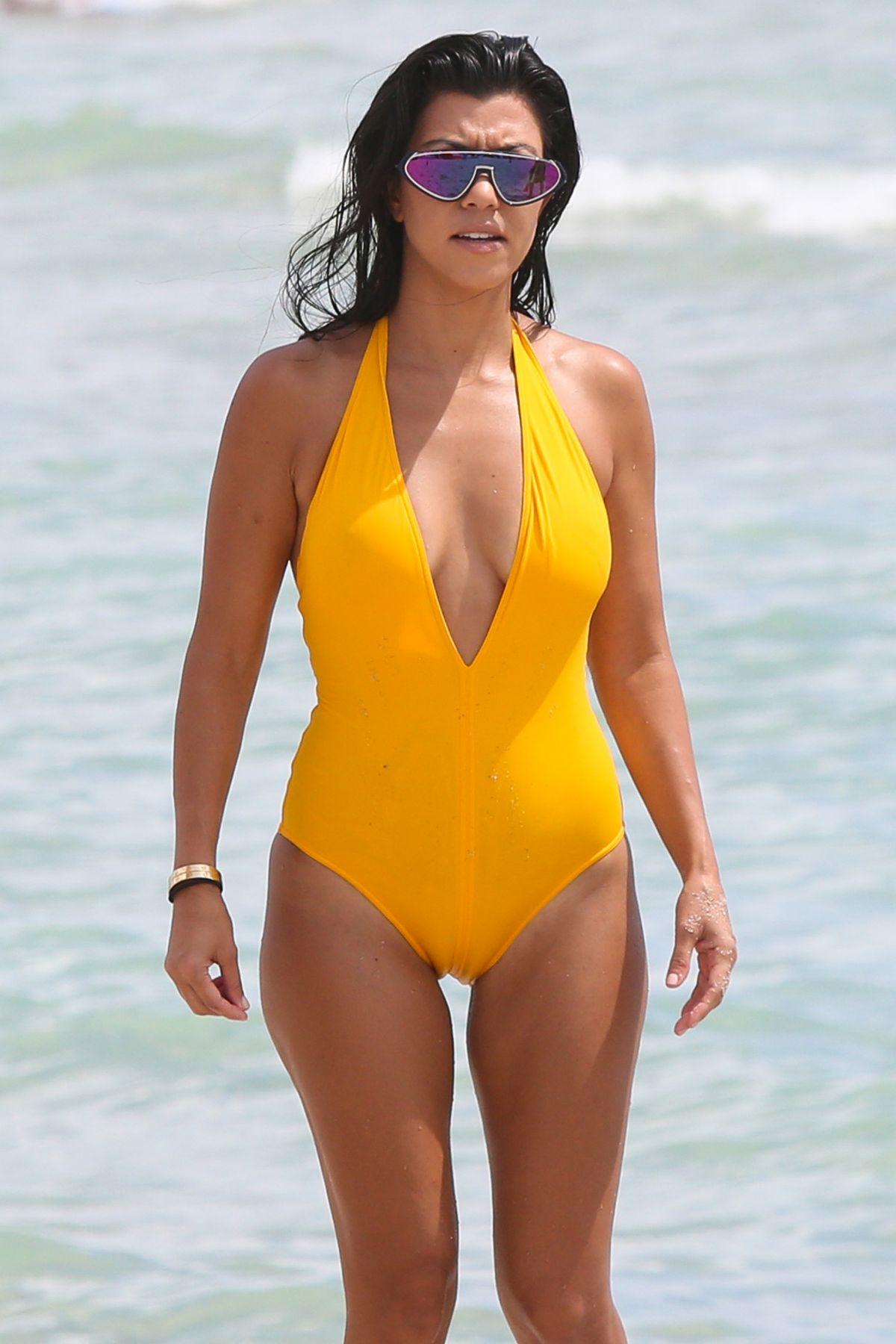 KOURTNEY KARDASHIAN in Swimsuit at a Beach in Miami 09/14/2016