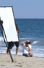LEA MICHELE in Swimsuit on the Set of a Photoshoot on the Beach in Malibu 09/01/2016