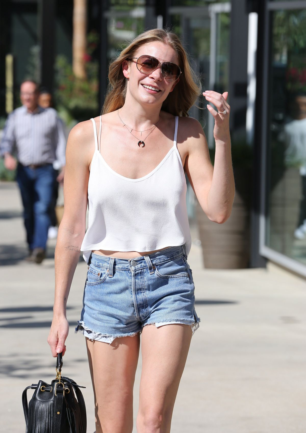 Leann Rimes In Denim Shorts And Halter Top Out In Los