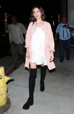 LILY COLLINS Leaves Catch Restaurant in West Hollywood 09/27/2016