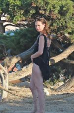 LILY JAMES at Beach in Ibiza 09/03/2016