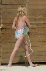 LINDSAY LOHAN in Swimsuit at a Beach in Mykonos 08/31/2016