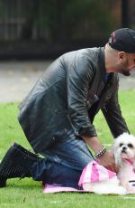 LOUISE CLIFFE with Her Dog at a Park in Manchester 09/14/2016