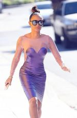 MELANIE BROWN in Tight Latex Dress Out in Los Angeles 09/08/22016