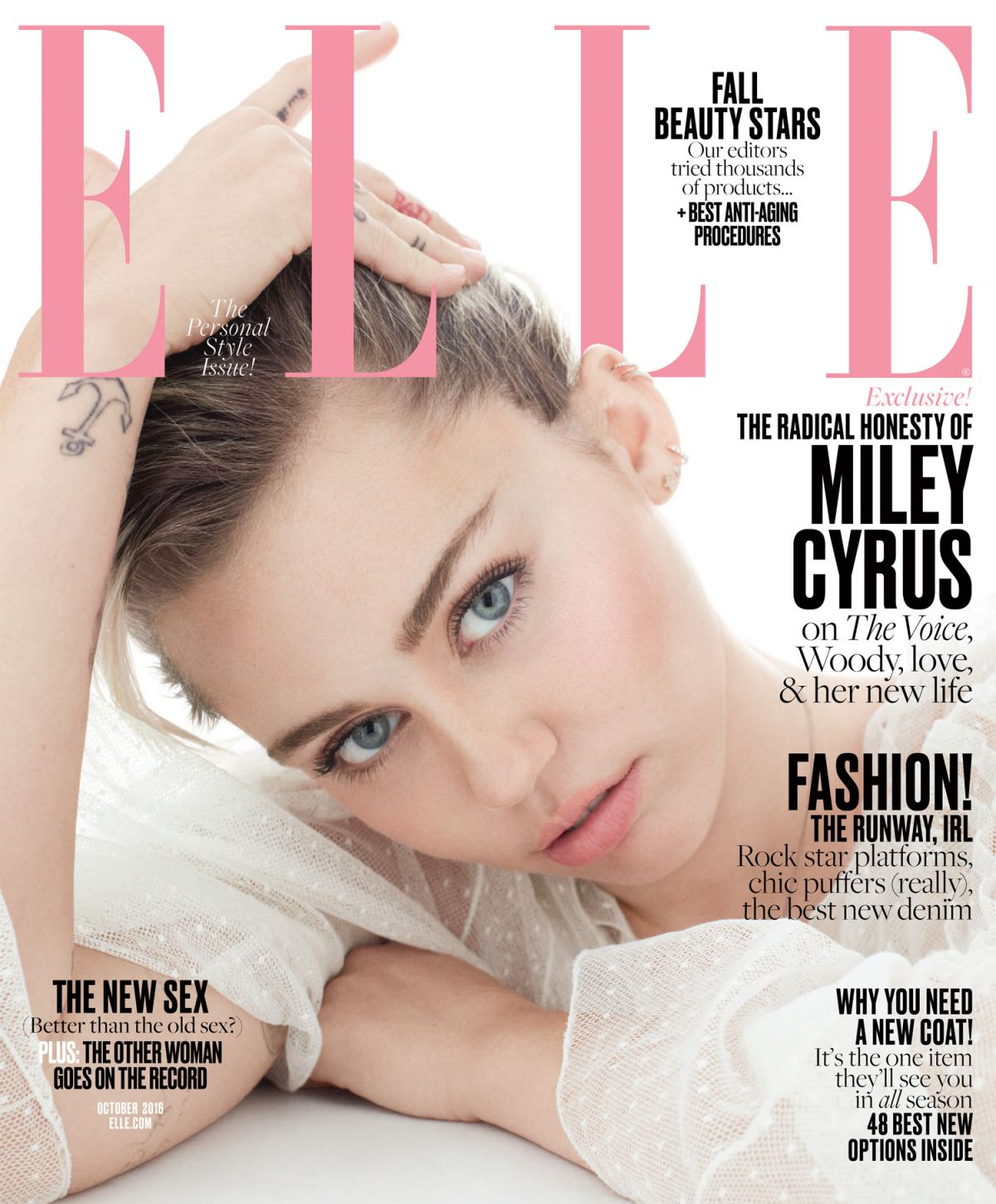 MILEY CYRUS in Elle Magazine, October 2016 Issue