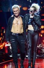 MILEY CYRUS Performs with Billy Idol at 2016 IhearRradio Music Festival in Las Vegas 09/23/2016