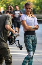 NINA AGDAL on the Set of a Photoshoot in New York 09/24/2016