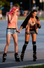 SANDRA KUBICKA Out Rollerblading in Warsaw 09/02/2016