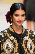 SARA SAMPAIO on the Runway at Dolce & Gabbana Fashion Show at Milan Fashion Week 09/25/2016